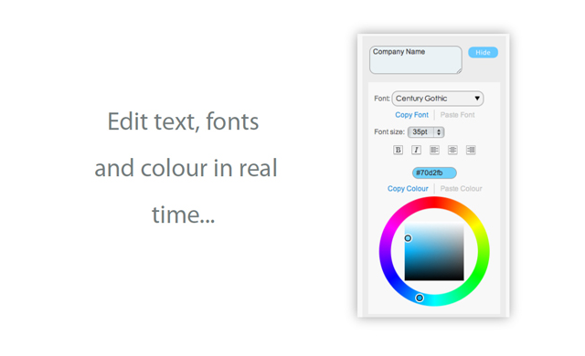Edit text, font and colours